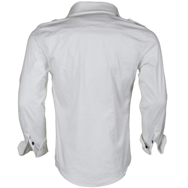 Honorable discharge mens white long sleeve fitted button for White button down shirt mens