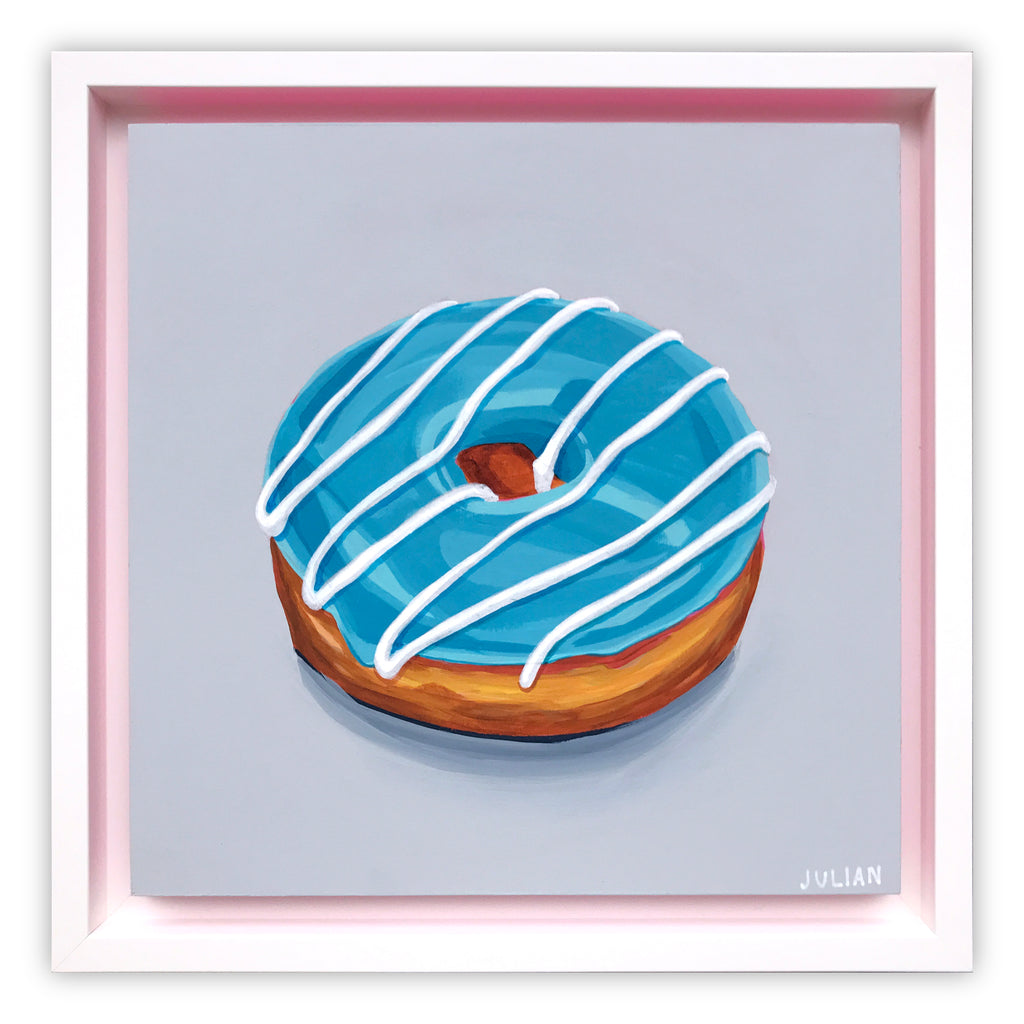 Blue Glazed White Stripe Donut