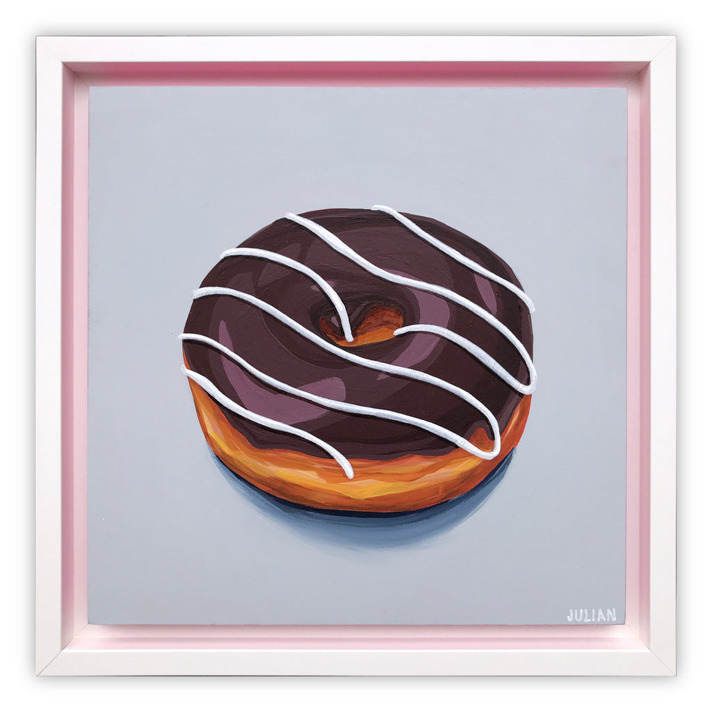 Chocolate Glazed White Stripe Donut