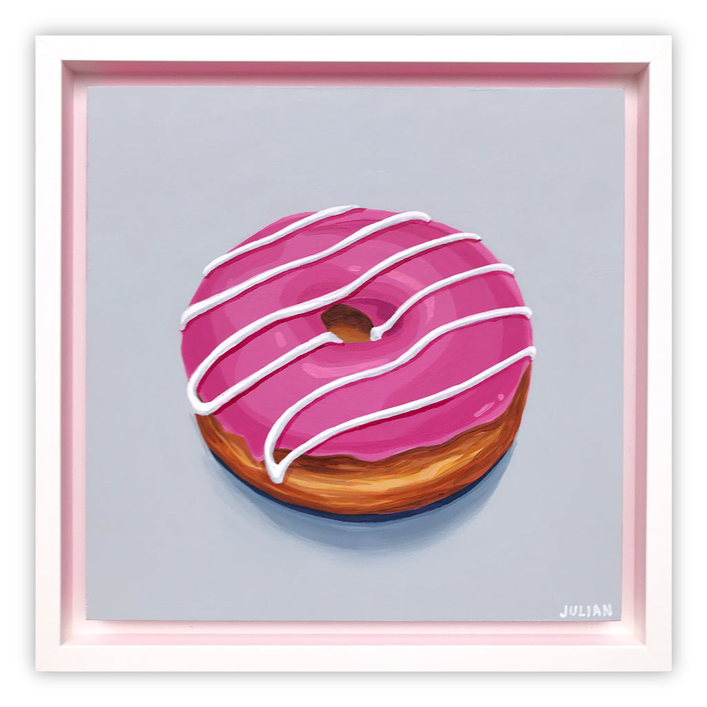 Pink Glazed White Stripe Donut