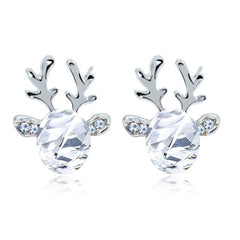 Crystal Deer Antler Stud Earrings