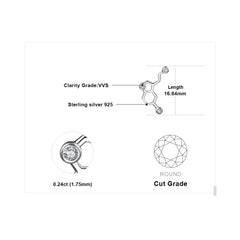Serotonin Molecule Stud Earrings 925 Sterling Silver
