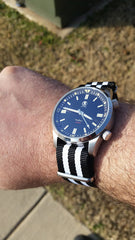 Black And White Nato Strap The Geordie Strap on River Watch Company Tiber