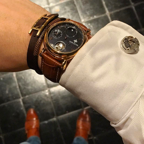 Detailed Perfectionist, White Dress Shirt, Louis Cottier Watch