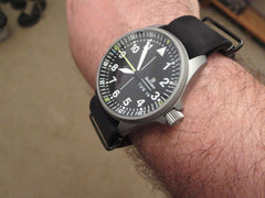 Black Leather Leather Nato with PVD Hardware on Damasko DA363