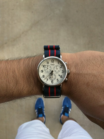 Timex weekender on a Red and Blue Striped Nato Strap