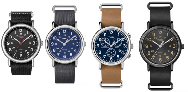 Timex Weekender, different coloured dials, chronograph