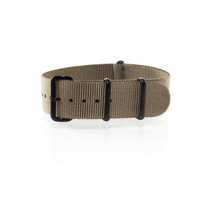 "Brown NATO Strap with PVD Black Buckle ""The Cargo Strap"" - Nato Strap Collections"