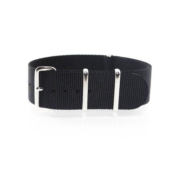 "Black NATO Strap with Polished Silver Buckle ""The Noir Strap"" - Nato Strap Collections - 1"