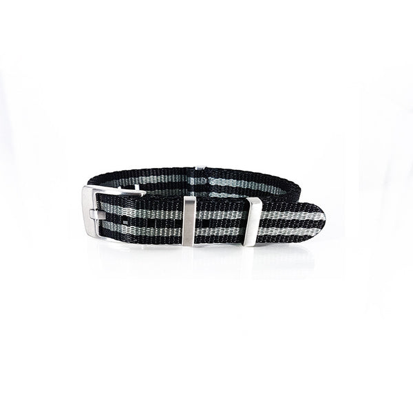 "Black and Grey NATO Strap with Brushed Silver Buckle ""Herringbone Bond Strap"""