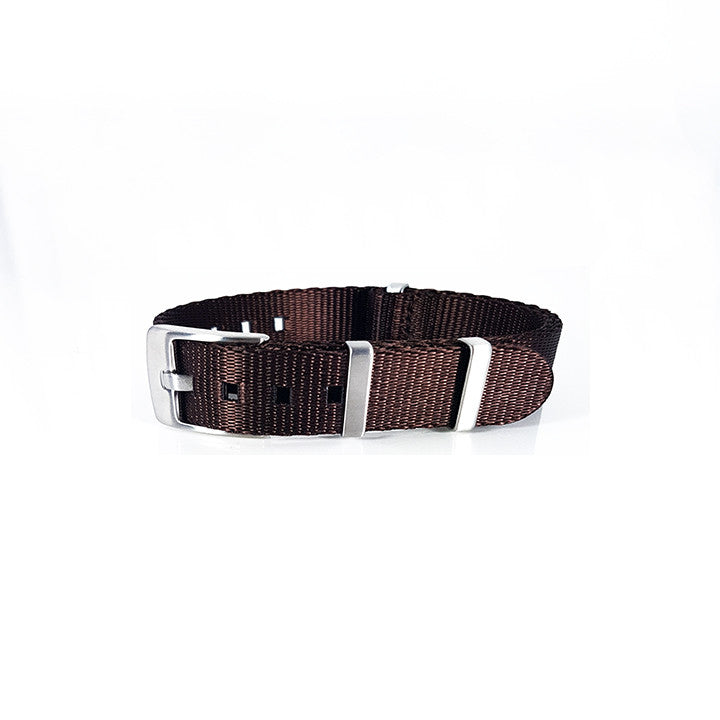 "Brown Herringbone NATO Strap with Brushed Silver Buckle ""The Bronze Herringbone Strap """