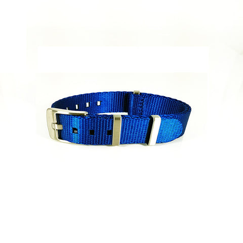 "Blue Herringbone NATO Strap with Brushed Silver Buckle ""The Cobalt Strap"""