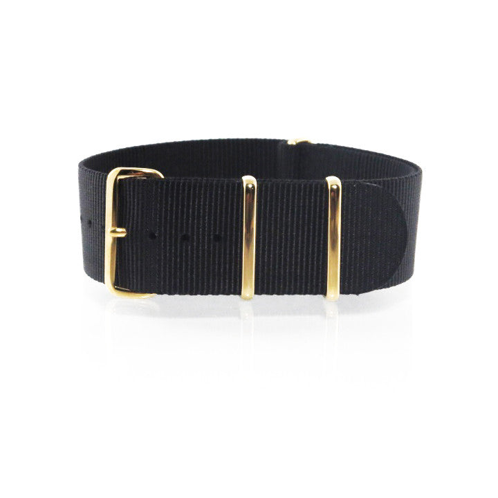 "Black NATO Strap with Gold Buckle ""The Noir Strap"" - Nato Strap Collections - 1"
