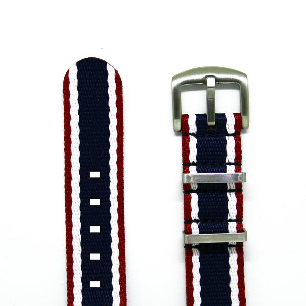 "Red White Blue Herringbone NATO Strap with Brushed Silver Buckles ""The Aviator V2"""