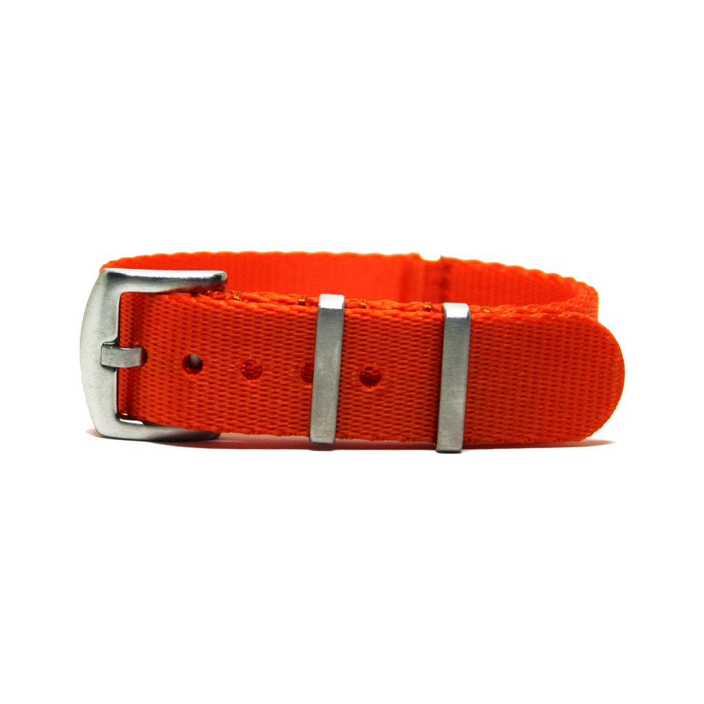 "Orange Herringbone NATO Strap with Brushed Silver Buckle ""The Oranje Herringbone Strap"""