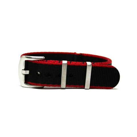 "Red Black Herringbone Nato Strap with Brushed Silver Buckles a.k.a. ""The Raptor Strap"""