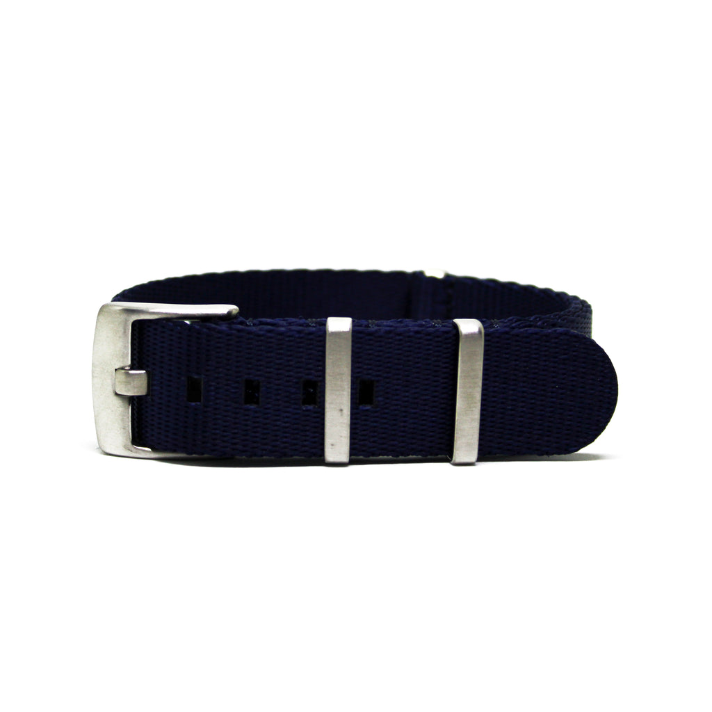 "The Navy Blue Herringbone Nato Strap with Polished Silver Buckles a.k.a ""The Navy Herringbone Strap"""
