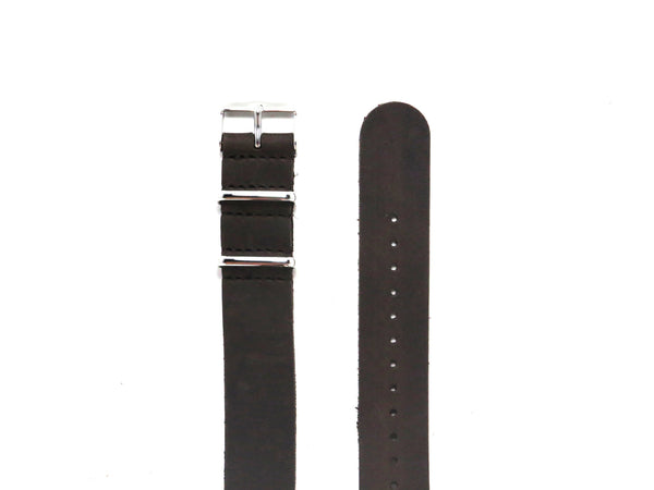 NEW! - Cappuccino Suede Leather NATO Strap with Polished Silver Buckle - Nato Strap Collections - 2