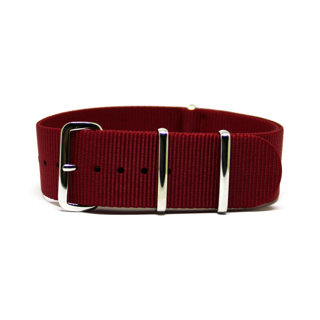 "The Red Nato Strap With Polished Silver Buckles, ""The Crimson Red Strap"""
