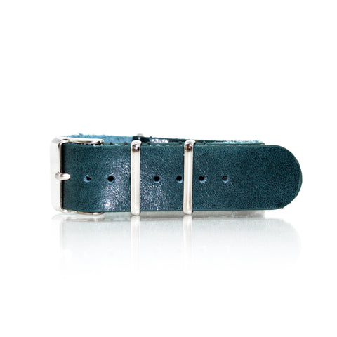 Green Vintage Leather NATO Strap with Polished Silver Buckle