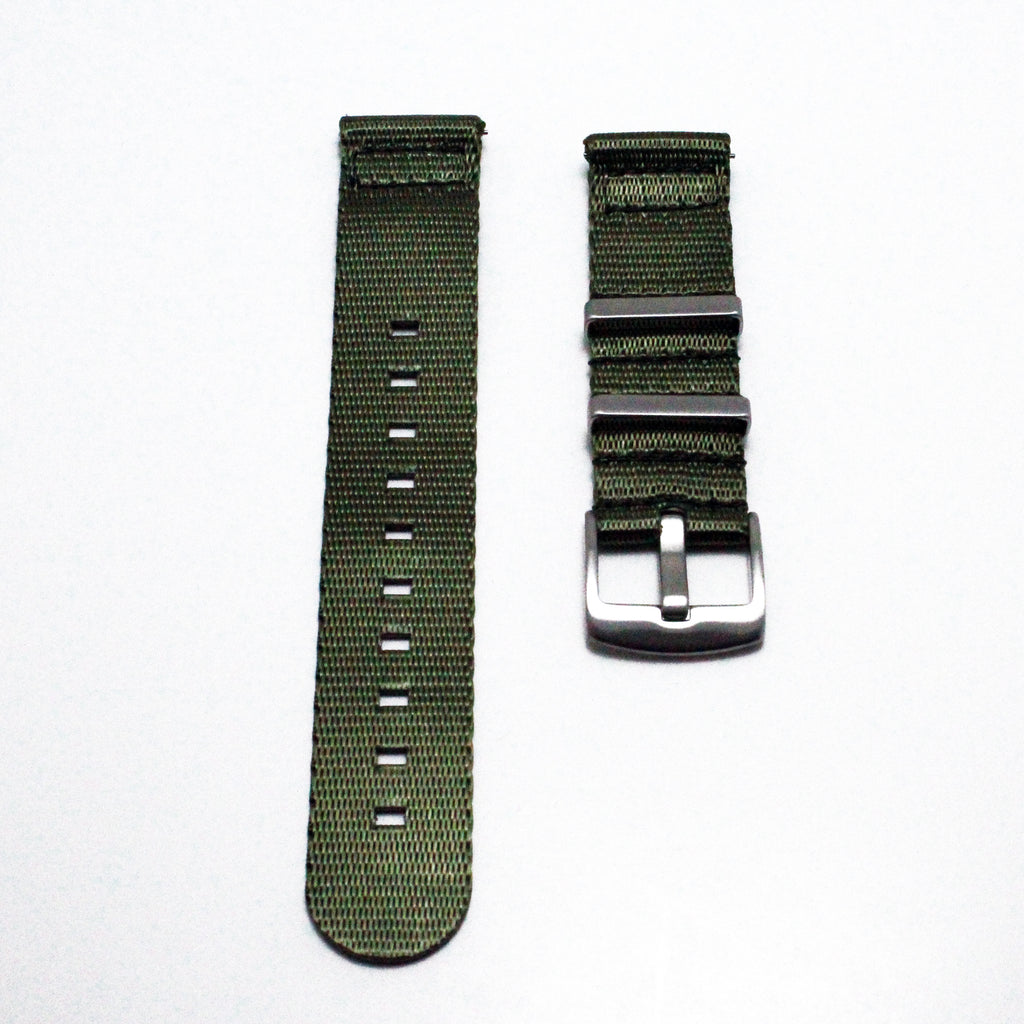 "Two-Piece Green Herringbone NATO Strap with Brushed Silver Buckle ""The Khaki Green Strap"""