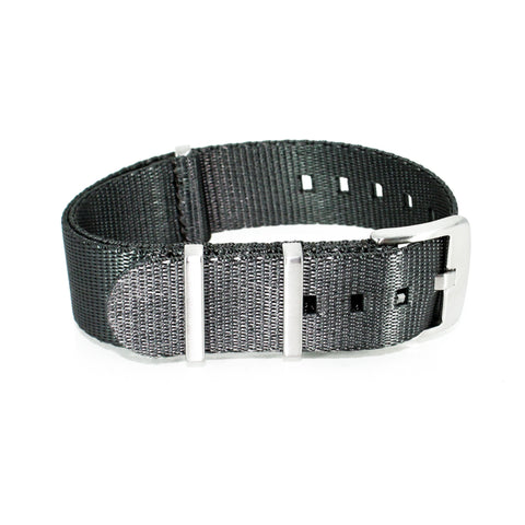 "Grey Herringbone NATO Strap with Brushed Silver Buckle ""The Gun Metal Herringbone Strap """