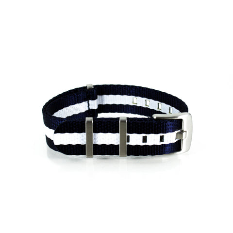 "Navy Blue and White NATO Strap with Brushed Silver Buckle ""Nautical Strap"""