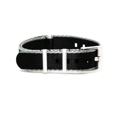 "Black and Grey NATO Strap with Brushed Silver Buckle ""Herringbone Spectre Strap"""