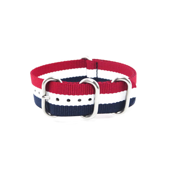 "Blue, White and Red ZULU Strap with Polished Silver Buckle ""The Aviator Strap"" - Nato Strap Collections - 1"