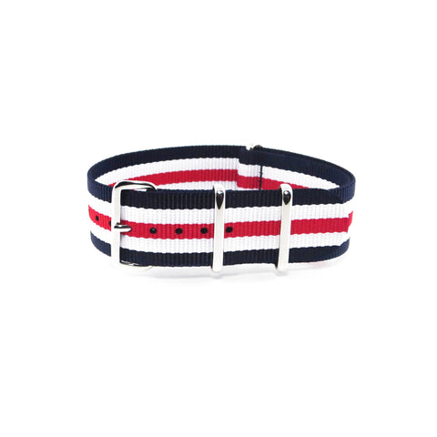 "Blue, White and Red NATO Strap with Polished Silver Buckle ""The Barbershop Strap"" - Nato Strap Collections - 1"