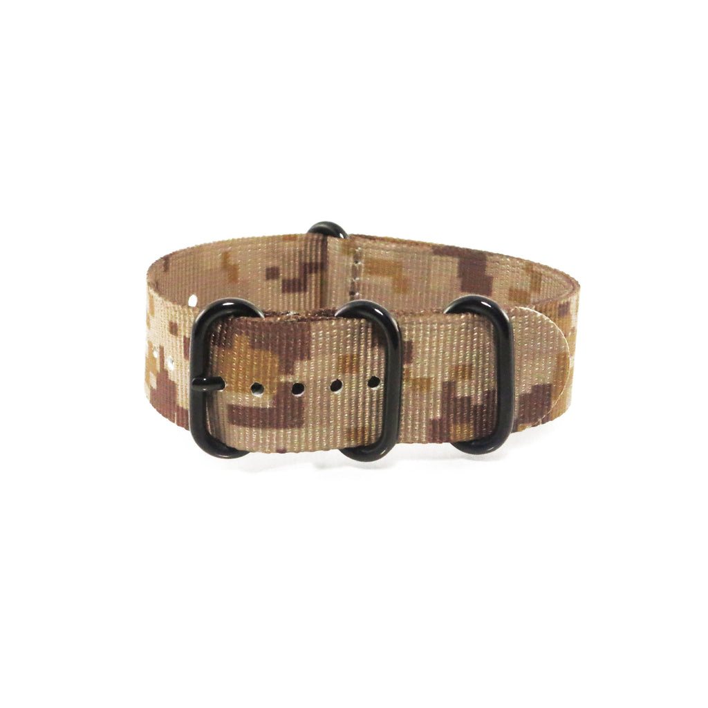 "Tan Camouflage ZULU Strap with PVD Black Buckle ""The Desert Storm Strap"" - Nato Strap Collections - 1"