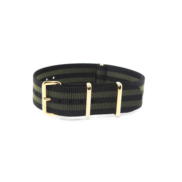 "Black and Gold NATO Strap with Gold Buckle ""The Bourbon Street Strap"" - Nato Strap Collections - 1"