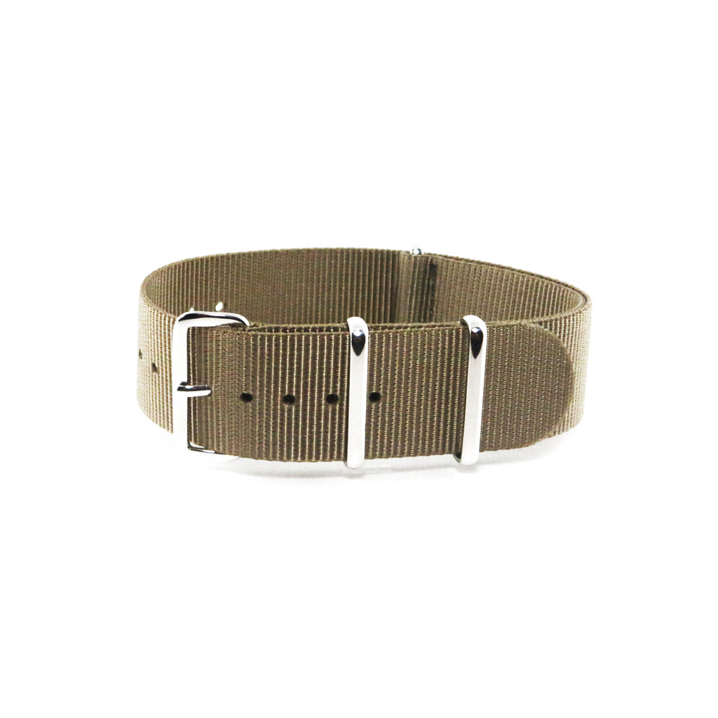 "Brown NATO Strap with Polished Silver Buckle ""The Cargo Strap"" - Nato Strap Collections"
