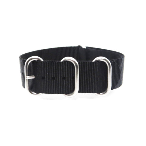 "Black ZULU Strap with Polished Silver Buckle ""The Noir Strap"" - Nato Strap Collections - 1"
