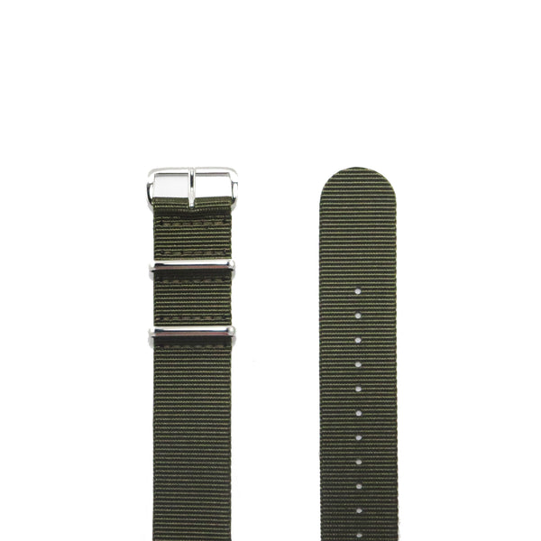 "Green NATO Strap with Polished Silver Buckle ""The Khaki Green Strap"" - Nato Strap Collections - 2"