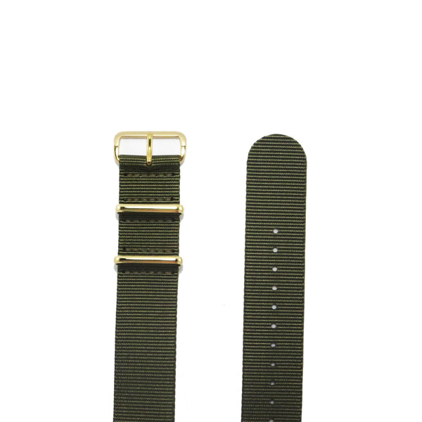 "Green NATO Strap with Gold Buckle ""The Khaki Green Strap"" - Nato Strap Collections - 2"
