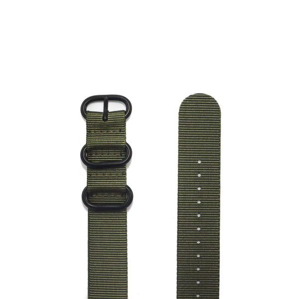"Green ZULU Strap with PVD Black Buckle ""The Khaki Green Strap"" - Nato Strap Collections - 2"