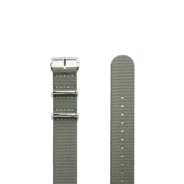 "Grey NATO Strap with Polished Silver Buckle ""The G.10 Strap"" - Nato Strap Collections - 2"