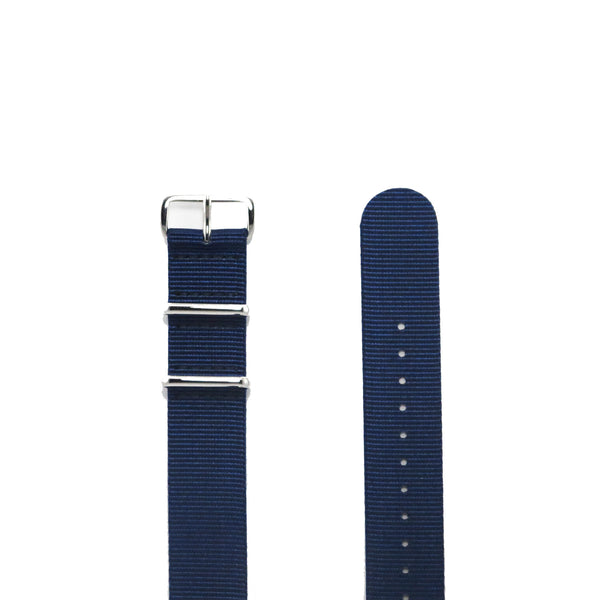 "Navy Blue NATO Strap with Polished Silver Buckle ""The Navy Strap"" - Nato Strap Collections - 2"
