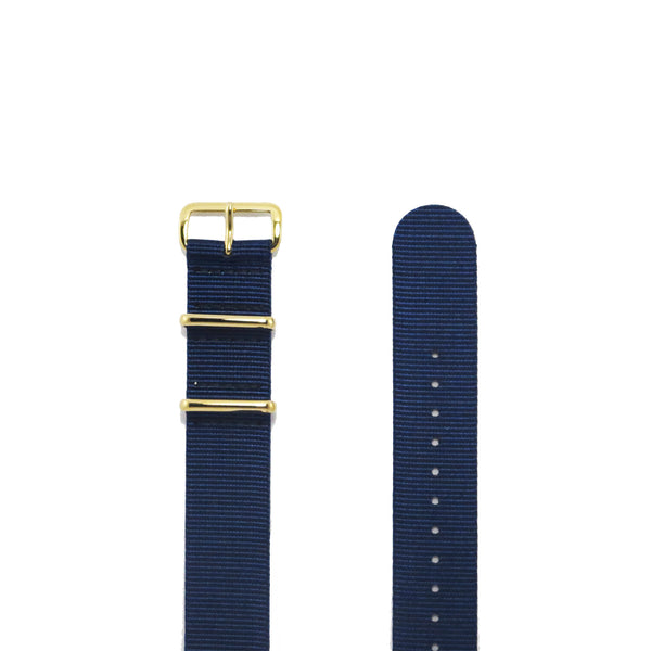 "Navy Blue NATO Strap with Gold Buckle ""The Navy Strap"" - Nato Strap Collections - 2"