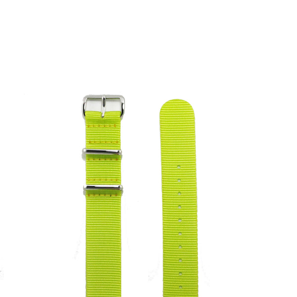 "Yellow NATO Strap with Polished Silver Buckle ""The Highlighter Strap"" - Nato Strap Collections - 2"