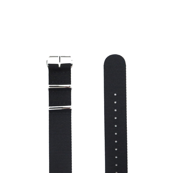 "Black NATO Strap with Polished Silver Buckle ""The Noir Strap"" - Nato Strap Collections - 2"