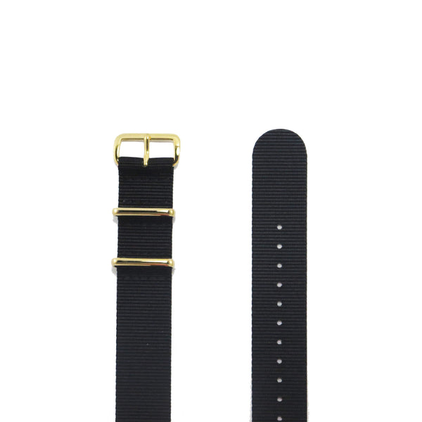 "Black NATO Strap with Gold Buckle ""The Noir Strap"" - Nato Strap Collections - 2"