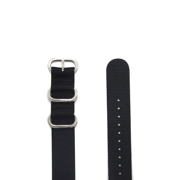 "Black ZULU Strap with Polished Silver Buckle ""The Noir Strap"" - Nato Strap Collections - 2"