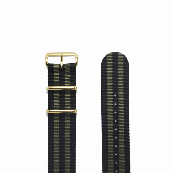 "Black and Gold NATO Strap with Gold Buckle ""The Bourbon Street Strap"" - Nato Strap Collections - 2"