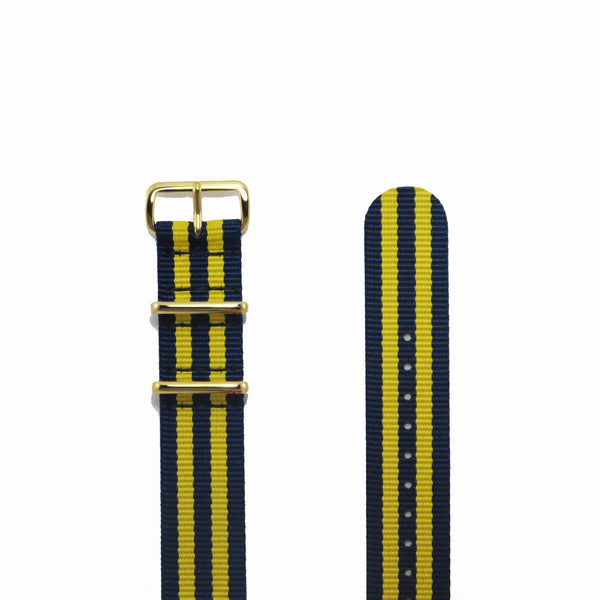 "Blue and Yellow NATO Strap with Gold Buckle ""The Stockholm Strap"" - Nato Strap Collections - 2"