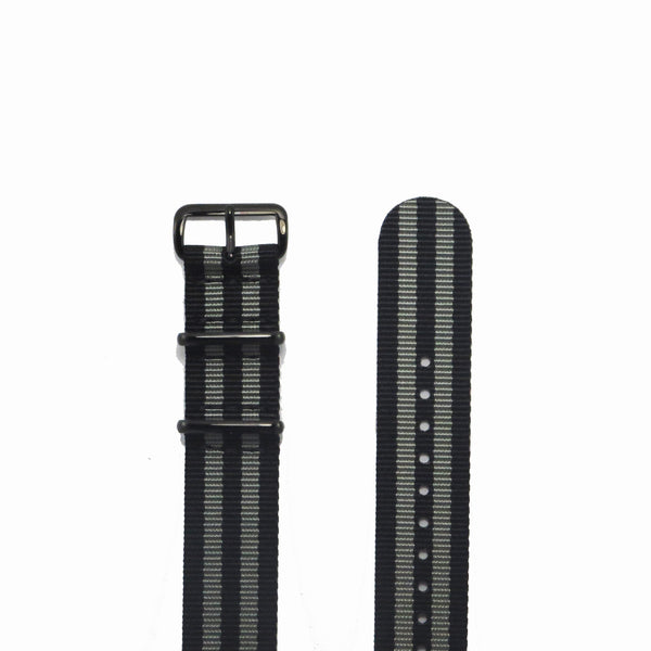 "Black and Grey NATO Strap with PVD Black Buckle ""The James Bond 007 Strap"" - Nato Strap Collections - 2"