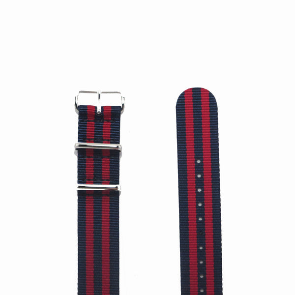 "Navy Blue and Red NATO Strap with Polished Silver Buckle ""The New England Strap"" - Nato Strap Collections - 2"