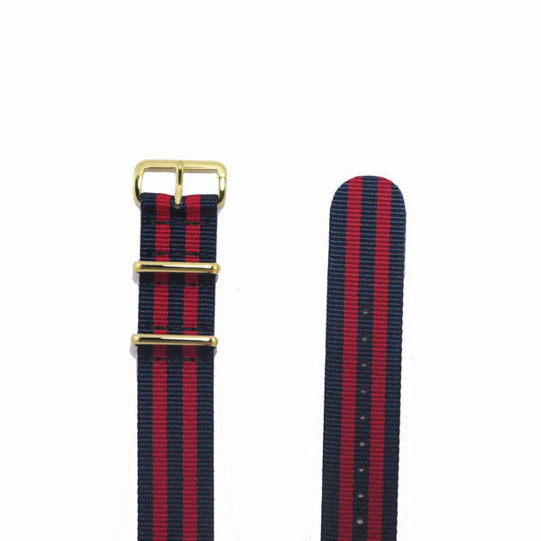 "Navy Blue and Red NATO Strap with Gold Buckle ""The New England Strap"" - Nato Strap Collections - 2"
