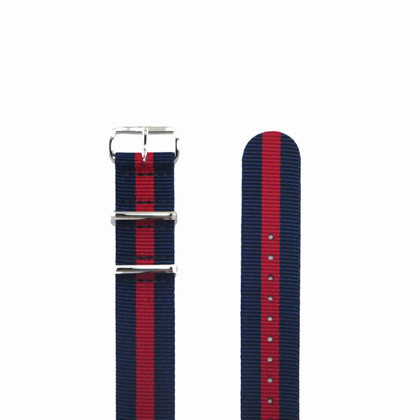 "Navy Blue and Red NATO Strap with Polished Silver Buckle ""The Boston Strap"" - Nato Strap Collections - 2"